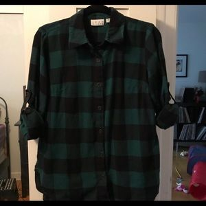 Green and black flannel shirt